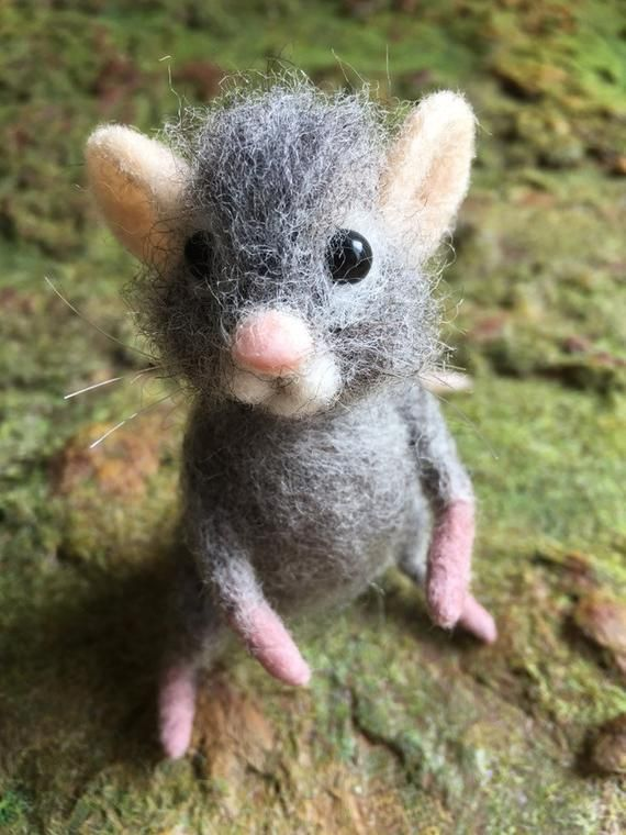 Miniatur-Maus-Geschenk, wenig Filzmaus. Muttertagsgeschenk #feltedwoolanimals