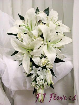 bridal white lilies and small roses teardrop bouquets wedding ...