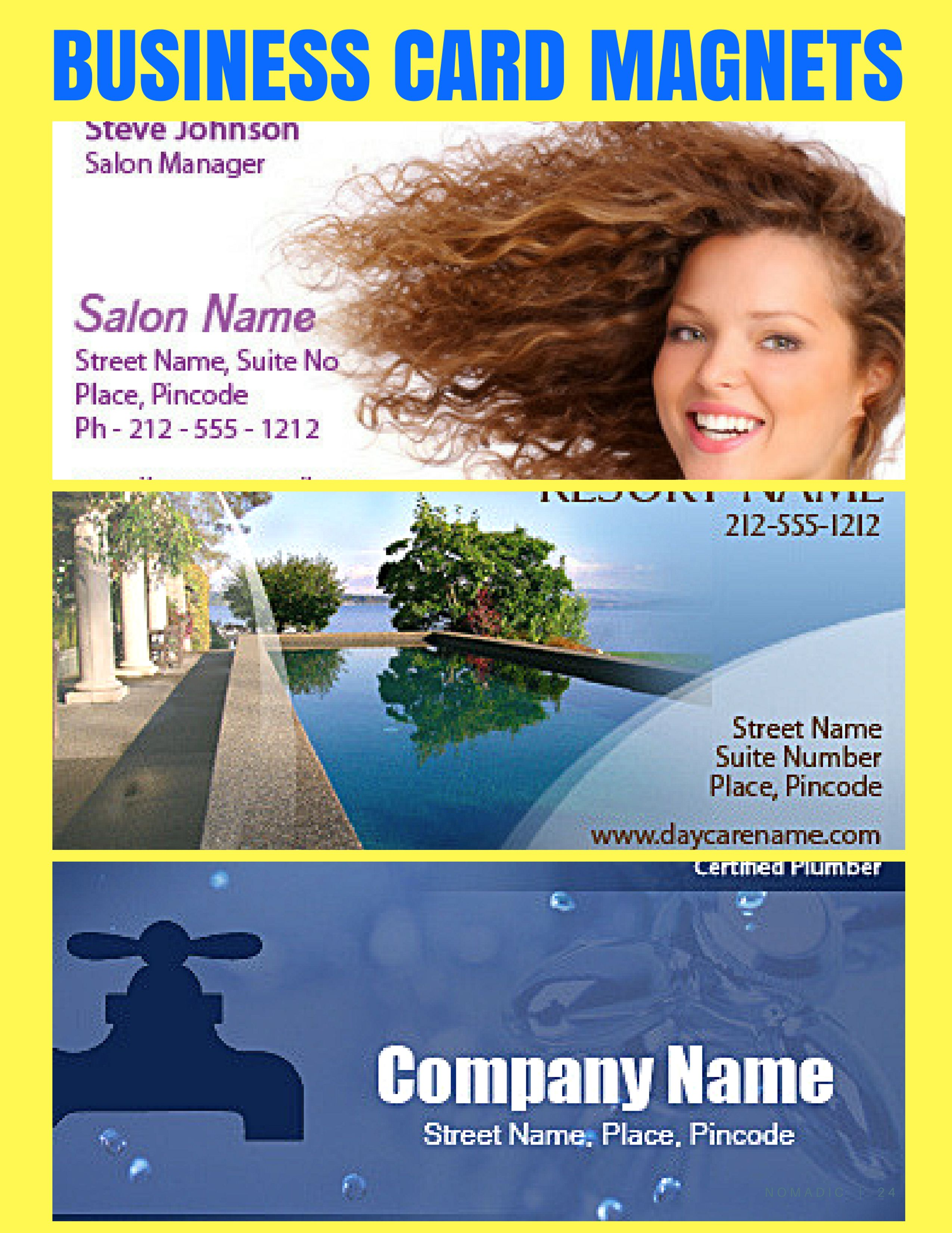 Every Time Your Recipients See These Logo Items On The Fridge Doors Or Filing Cabinets They Will Be Reminded Magnetic Business Cards Business Cards Salon Names
