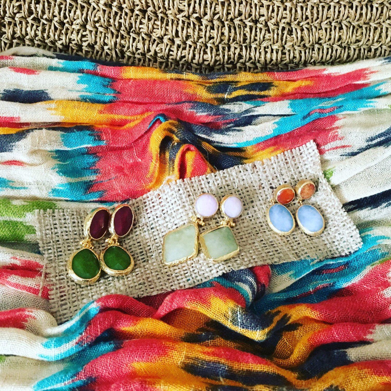 All you need is a raffia bag + ikat scarf + gemstone earrings 💛💙💚✨