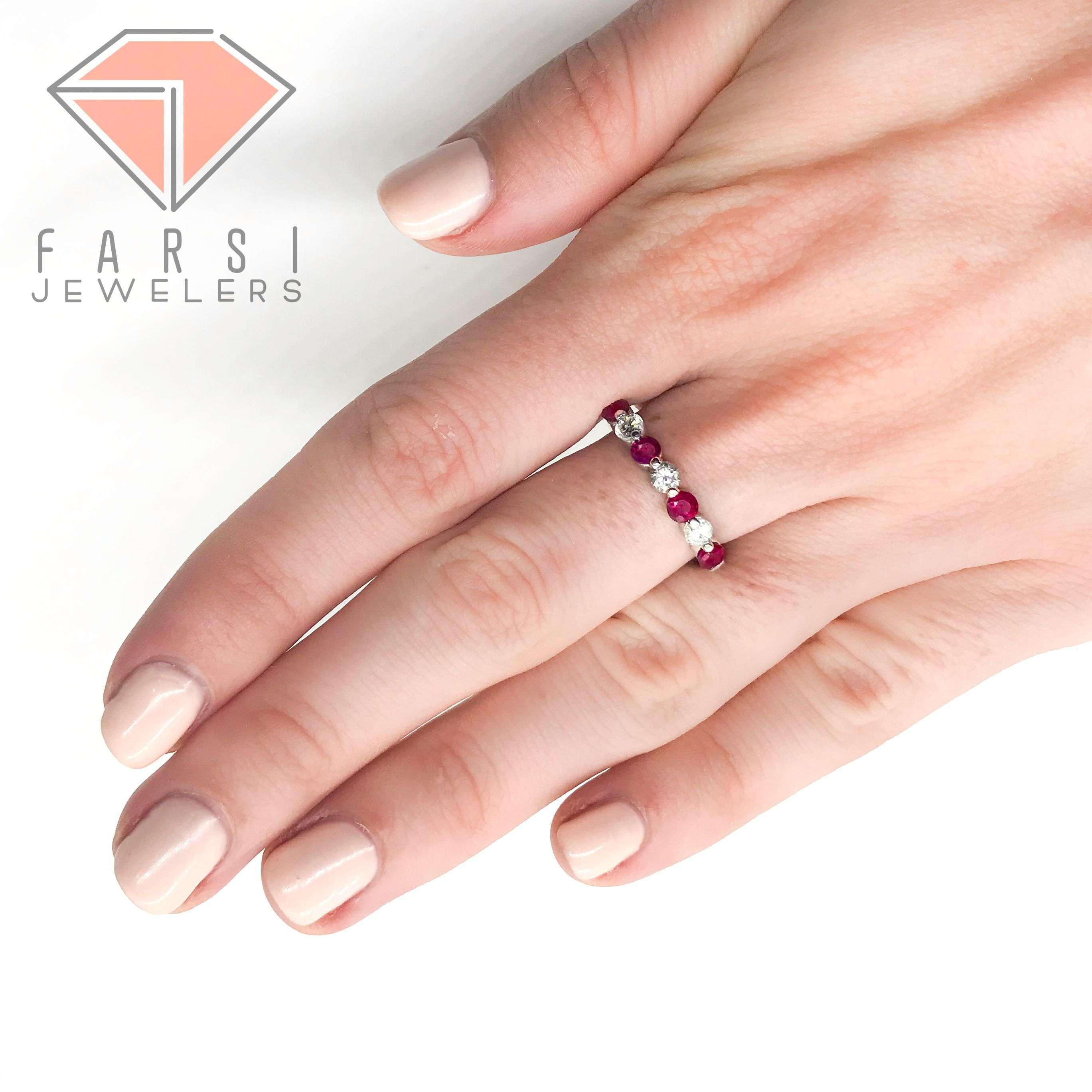 Diamond And Ruby Ring in 14K White Gold | White gold, Diamond and Ring
