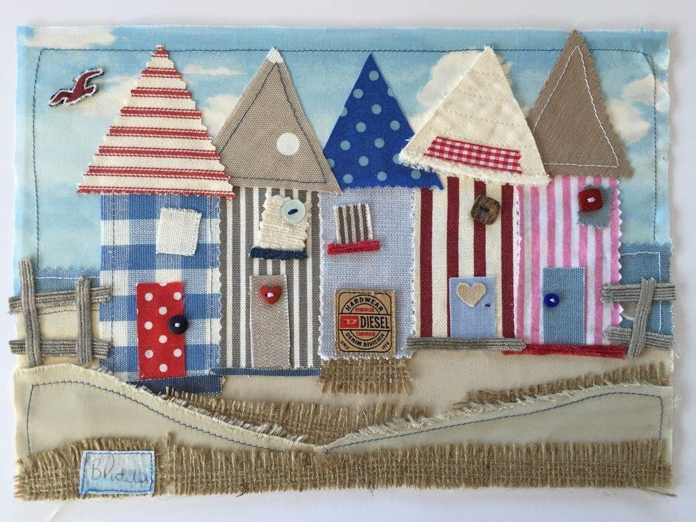 Beach Hut Nautical Laura Ashley Fabric Art Picture Boat Lighthouse