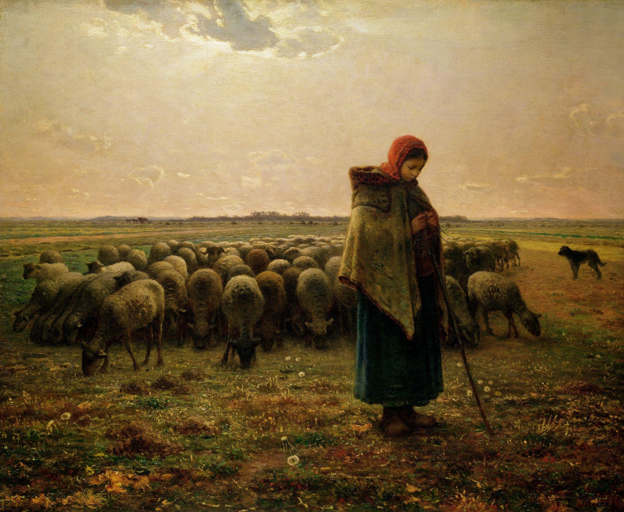 Shepherdess with her Flock   Pinturas del realismo, Pinturas ...