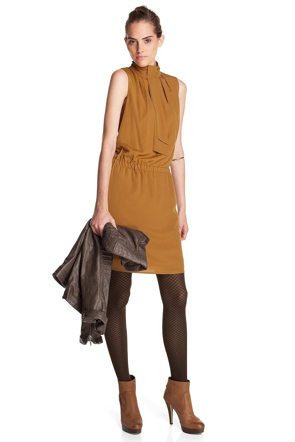 Mustard color crepe dress