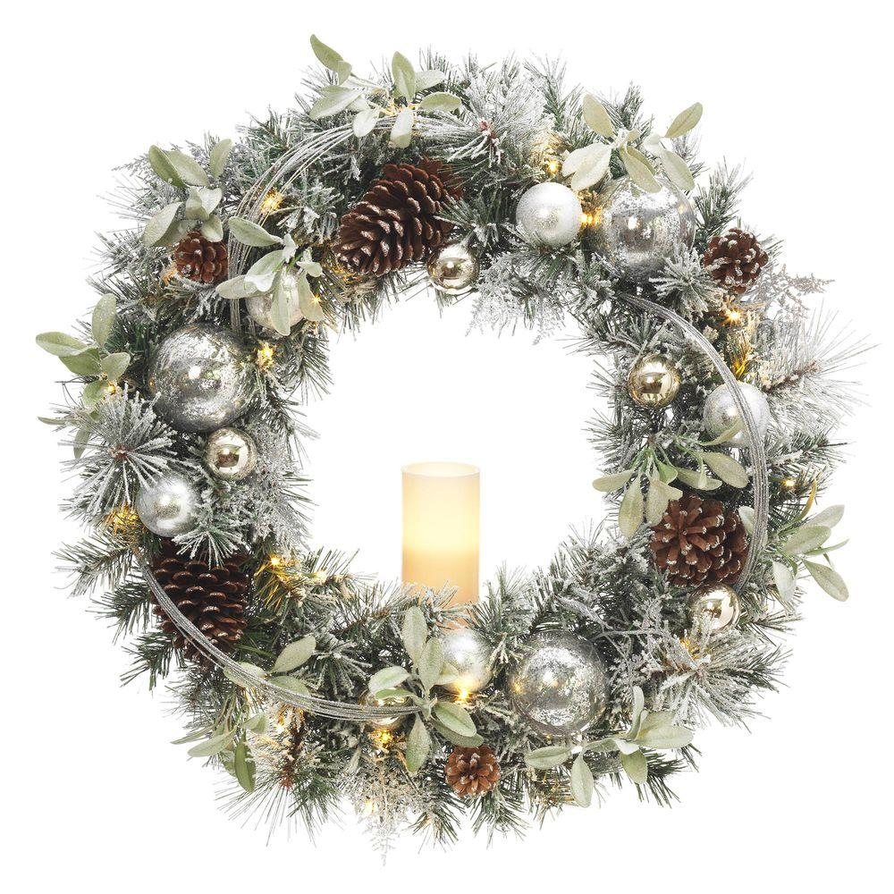 Null 30 In Battery Operated Snowy Silver Pine Artificial Wreath With 30 Clear Led Lights And Led Candle Christmas Wreaths Artificial Wreath Christmas Candles