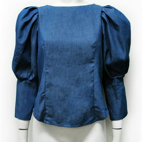 Dora Top Denim bubble sleeve top with button back Gracia Tops Blouses