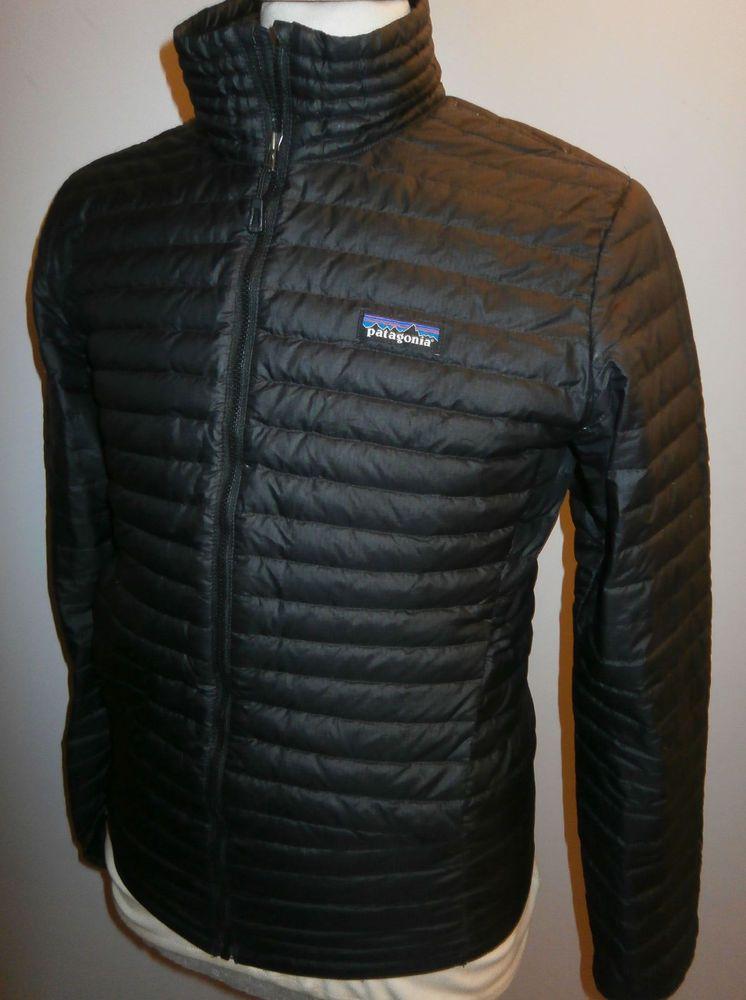 Mens patagonia down shirt jacket black quilted padded coat