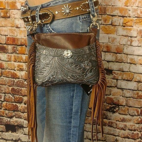 9a440eea5a Leather Hip Bag Handmade Fringe Belt Loop Clip Biker Cowgirl Western Purse