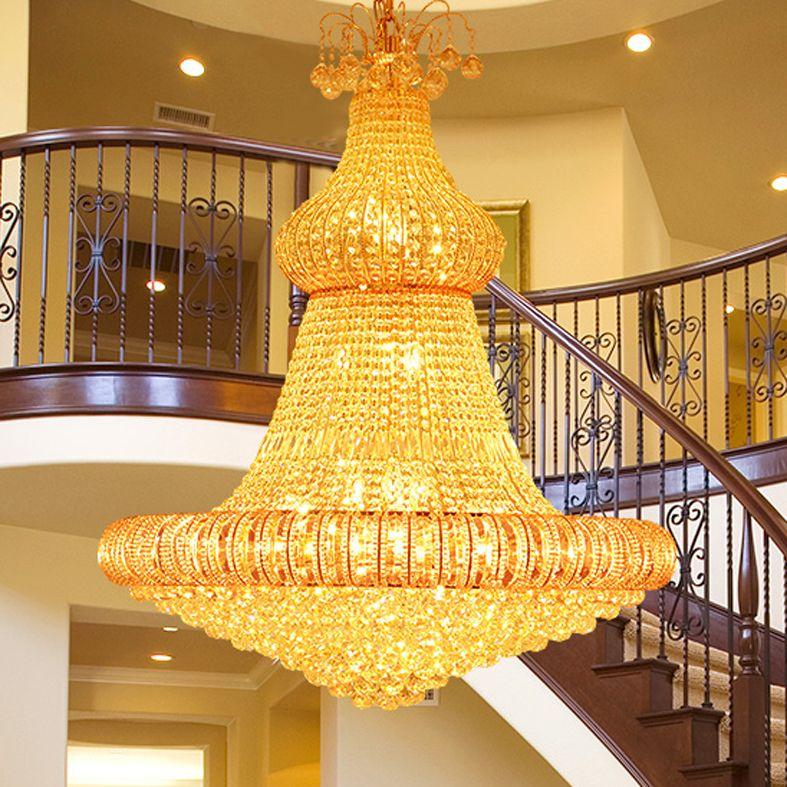 Gold Crystal Chandelier LED Modern Chandeliers Lights Fixture Hotel ...