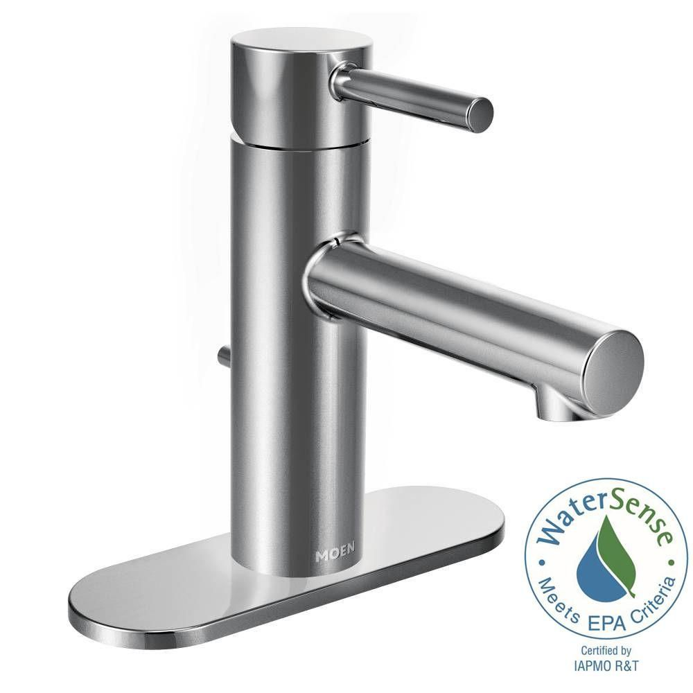 Moen Align Single Hole 1 Handle Bathroom Faucet In Chrome Grey