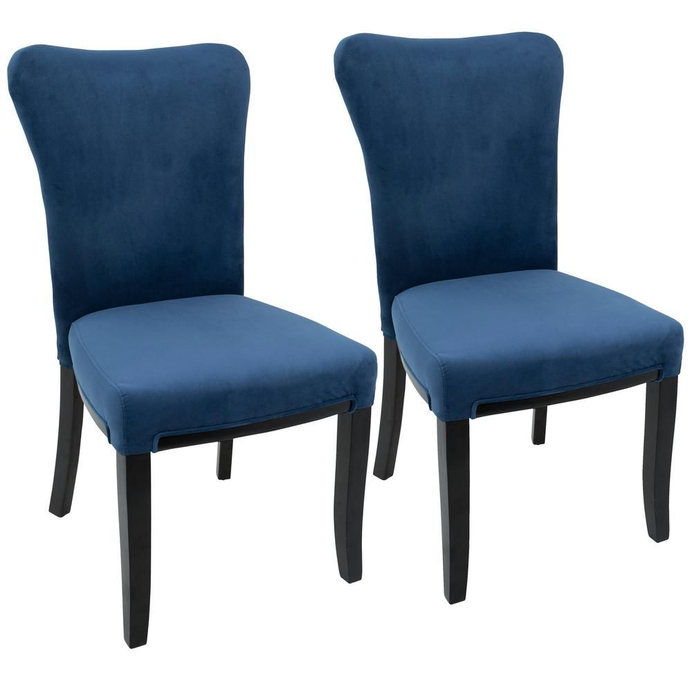 Olivia Espresso And Navy Blue Dining Chair Set Of 2 Navy Blue