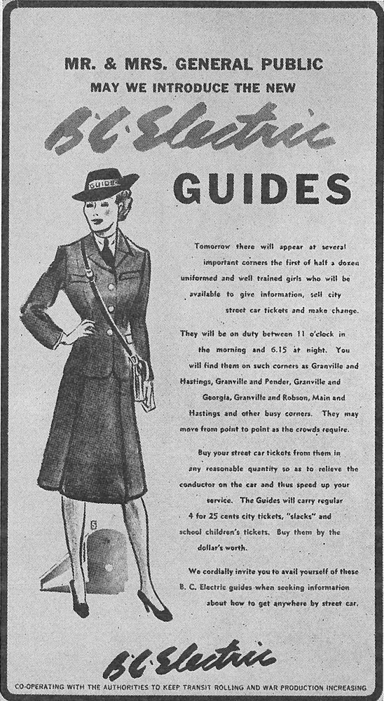 1940s ad for B C  Electric Guide positions  Image courtesy