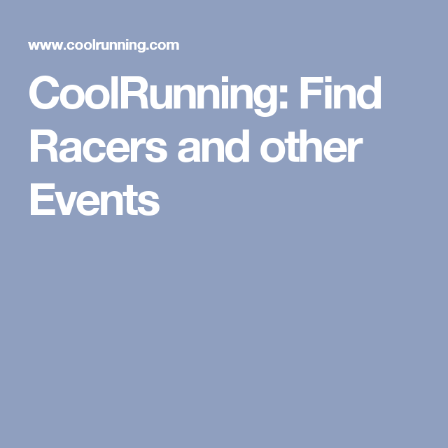 CoolRunning: Find Racers and other Events
