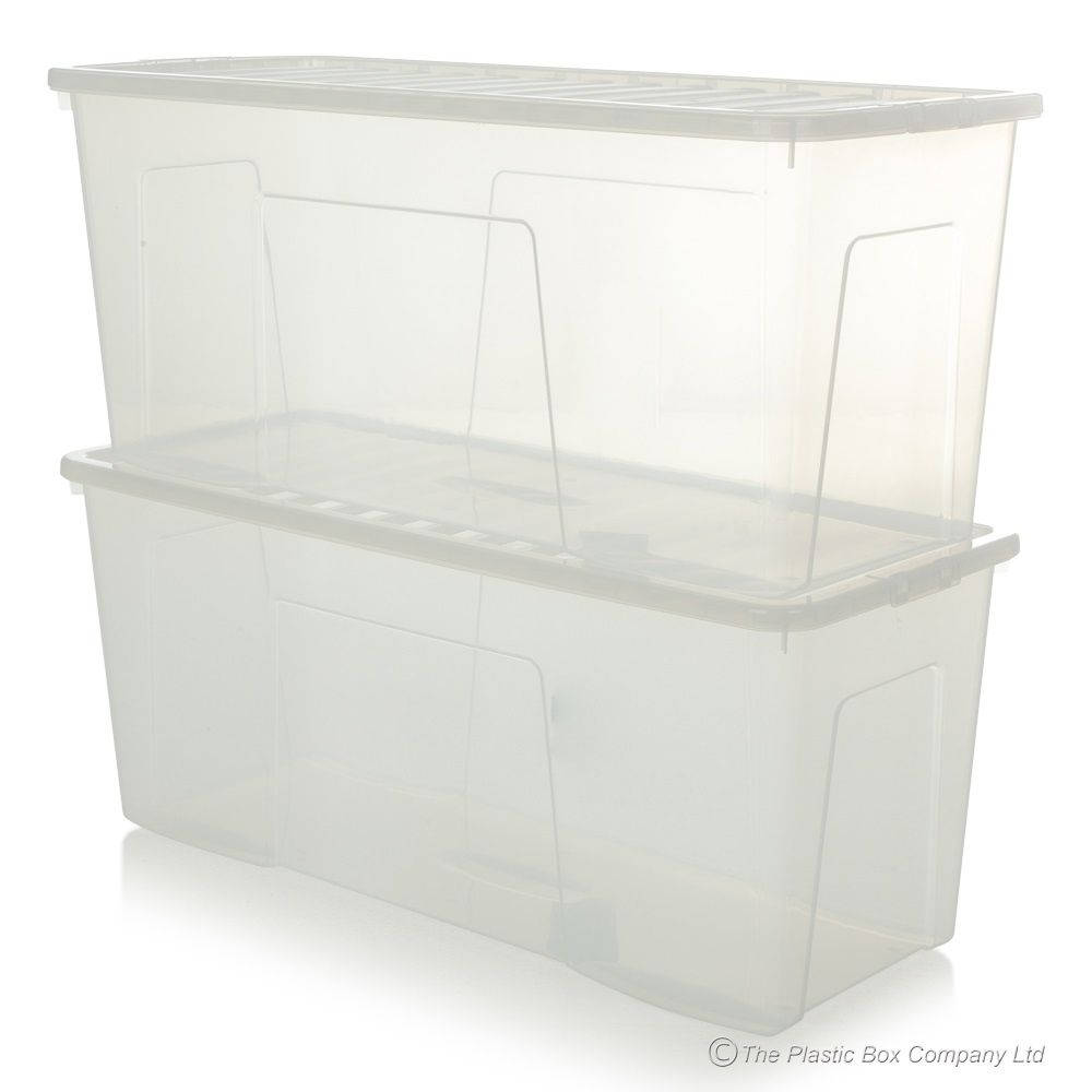 Pack Of 2 133 Litre Extra Large Long Plastic Storage Boxes With