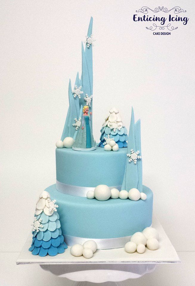 Disney Frozen 2 Tier Elsa Tree And Fondant Shards Snowball Cake