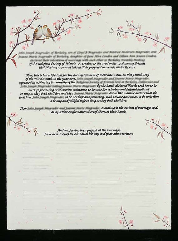 Quaker Marriage Certificate | Calligraphy and Typography | Pinterest ...