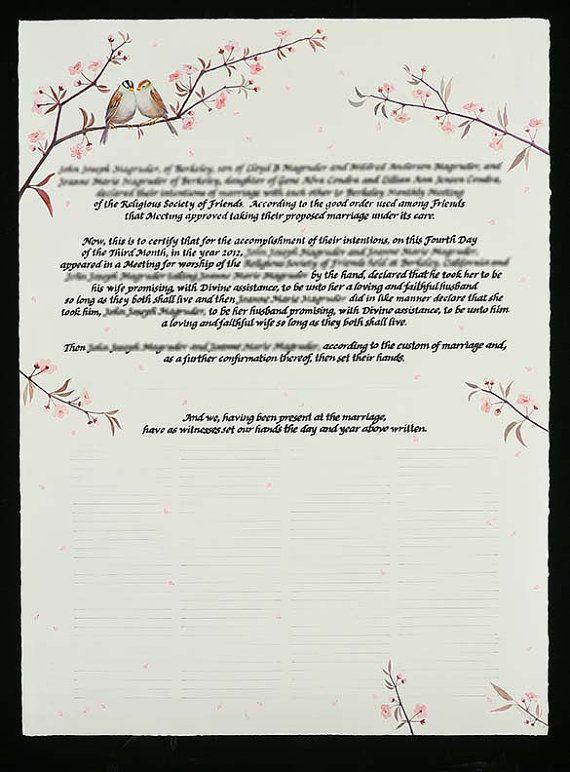 Quaker Marriage Certificate verses Pinterest Certificate