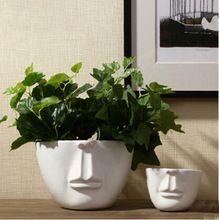 Man Gezicht Bloempotten Plantenbakken Decoratie Moderne Desktop Decor Bar Winkel Creatieve Diy Geschenken Witte Keramische Keramische Potten Pottenbakken Vazen