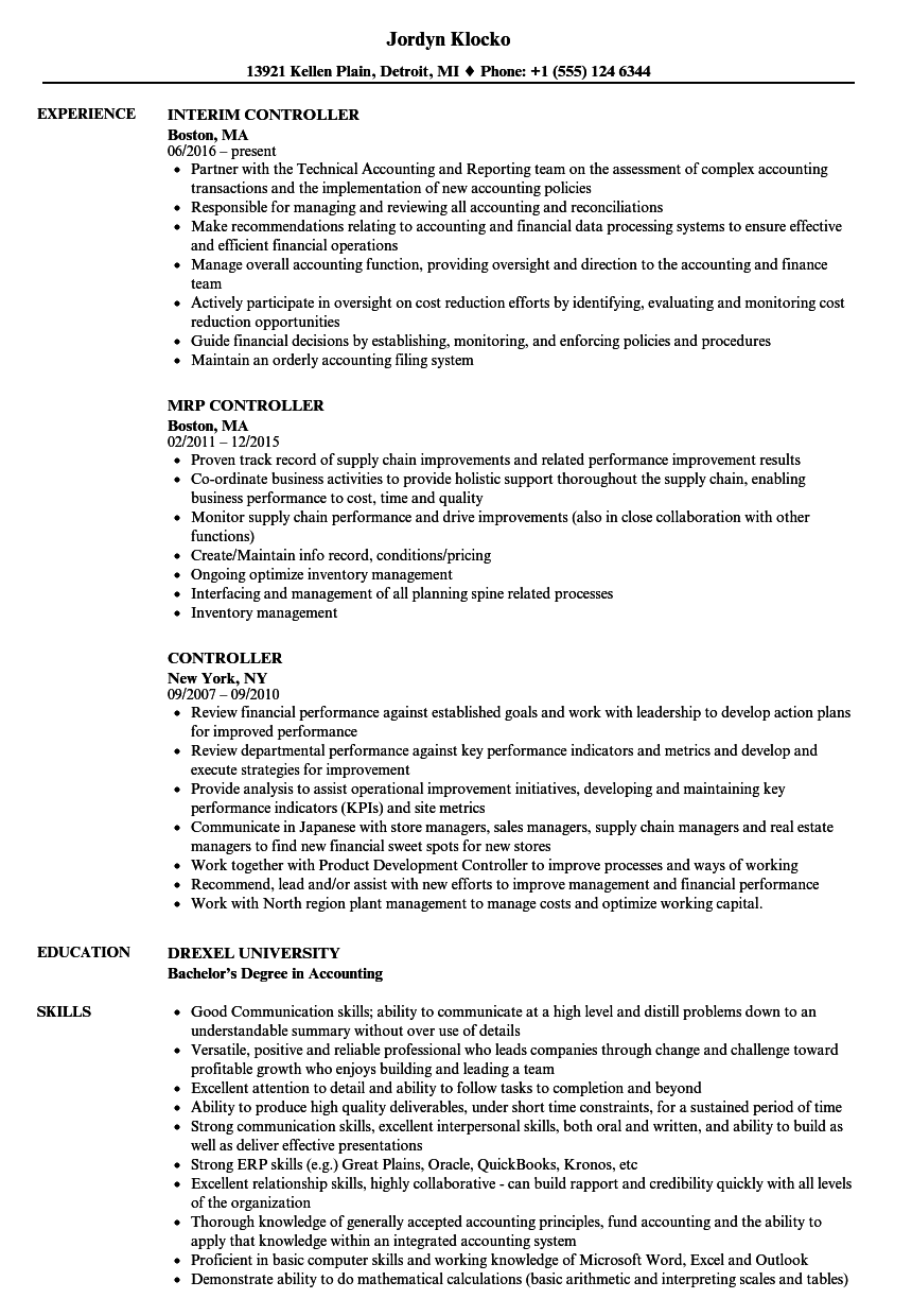Controller Resume Check More At Http Easybusinessposters Com Controller Resume Blog