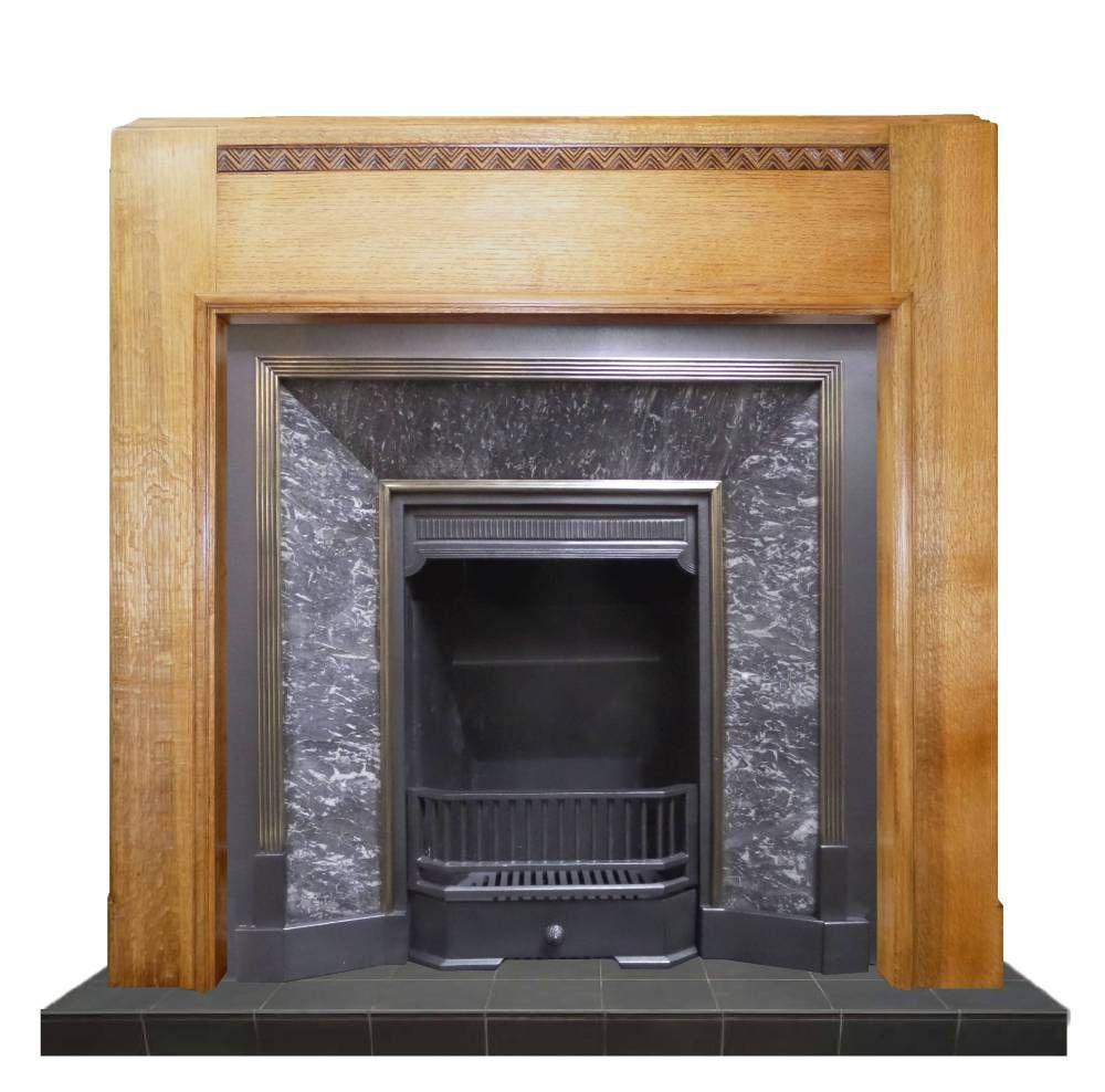 Antique art deco oak wood mantel fireplace surround various