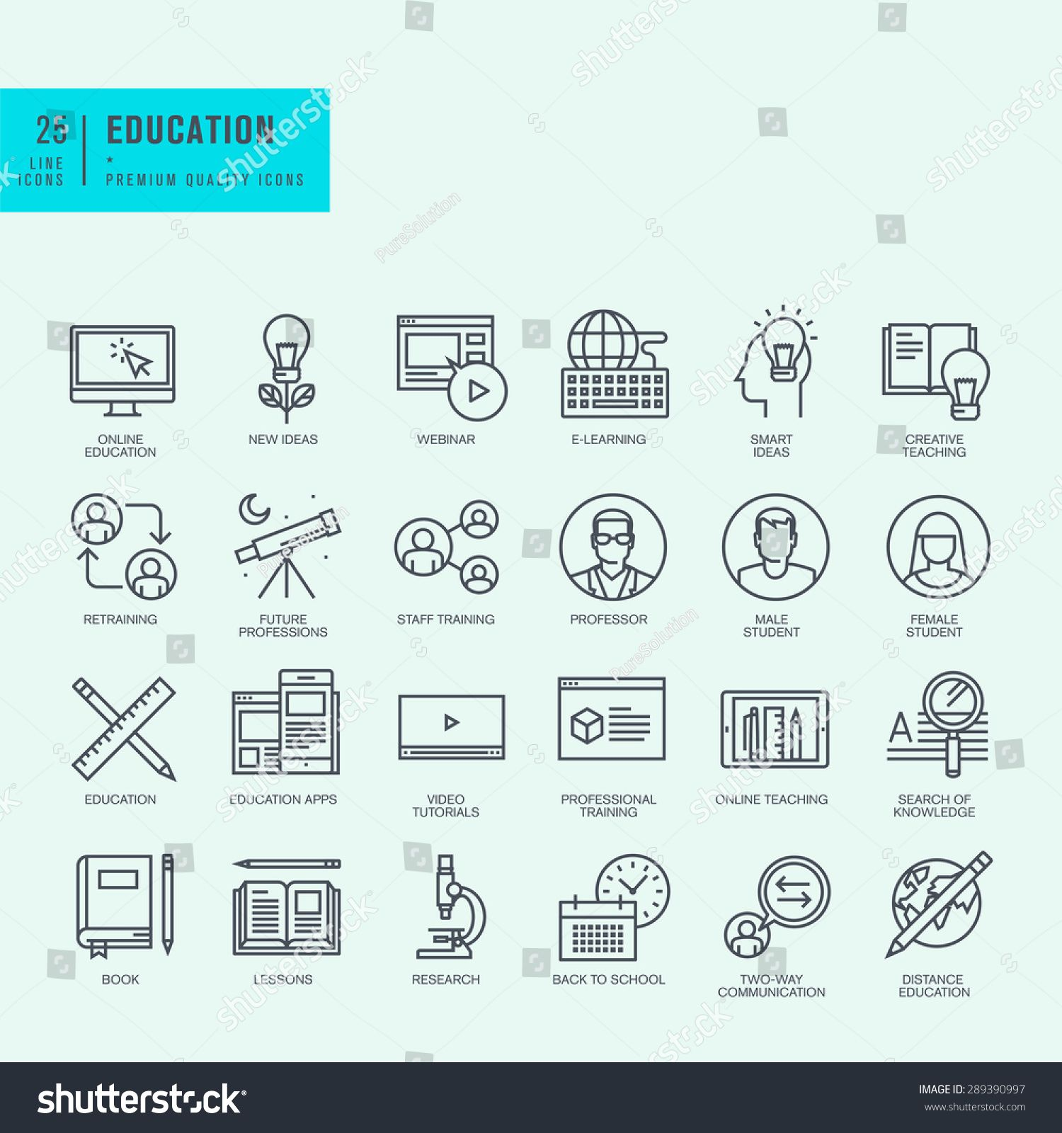 Business Education Vector Linear Icon Isolated On Transparent