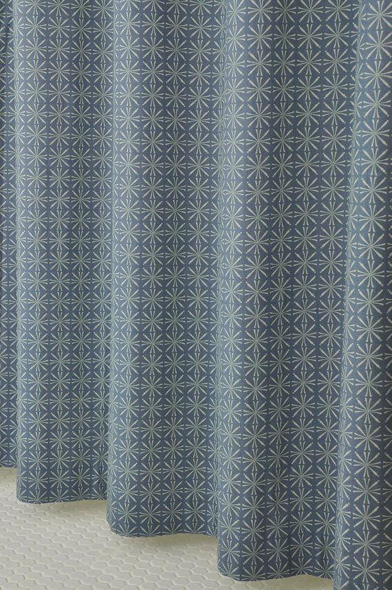 Denim Blue Shower Curtain In Linen 72 Wide X 72 78 By Pondlilly