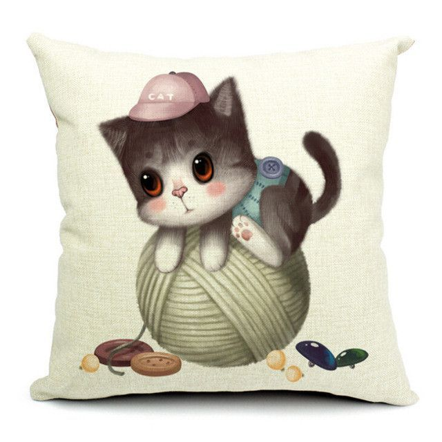 Cartoon Style Cat Printed Pillow for Bed Sofa Cushion Decorative Throw