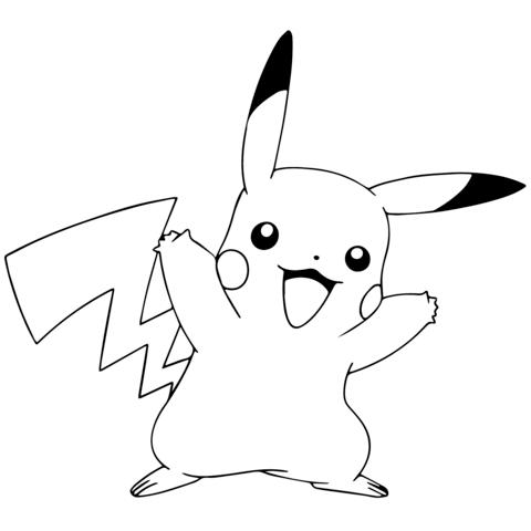Pokemon GO Pikachu Celebrating Coloring Page