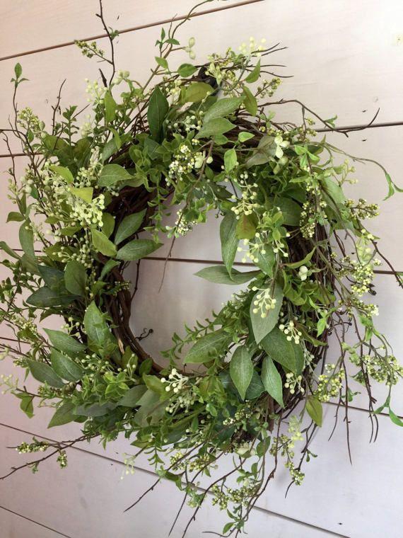 Photo of Berry wreath, greenery wreath, spring wreath, front door wreath, summer wreath, wall wreath, farmhouse wreath, farmhouse decor, gift