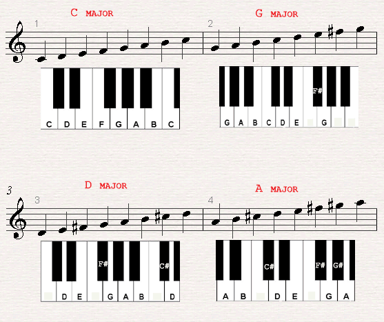 A Chord Chard Of A C Major G Major D Major And A Major Scales