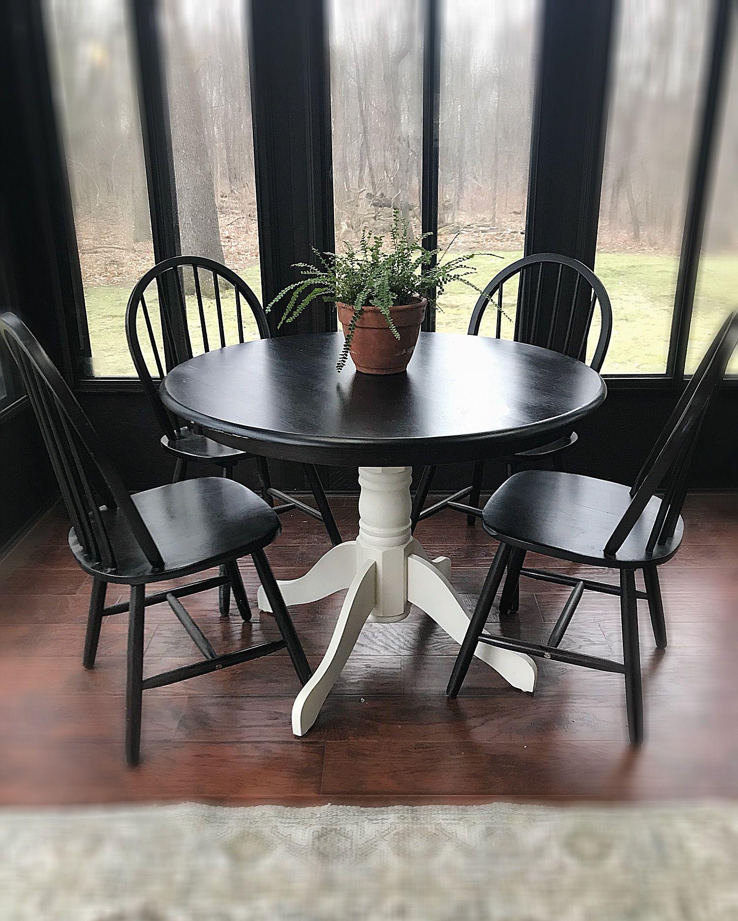 Beautiful round farmhouse kitchen table set rustic wood