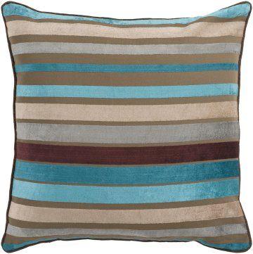 Surya Velvet Stripe Js 024 Multi Colored Striped Pillow