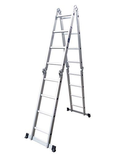 Crentm 15 5ft Light Weight Step Platform Multi Purpose Aluminum Folding Scaffold Ladder 300 Lb Capacity 15 5ft Scaffold Ladder Aluminium Ladder Ladder