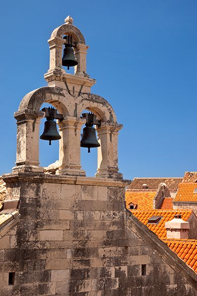 Bell tower and orange roof-tops of Dubrovnic, Croatia