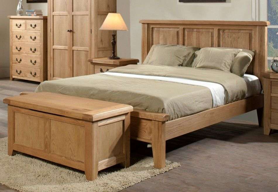 Bedroom Natural Simple Design Wooden Double Bed Frame With Wooden