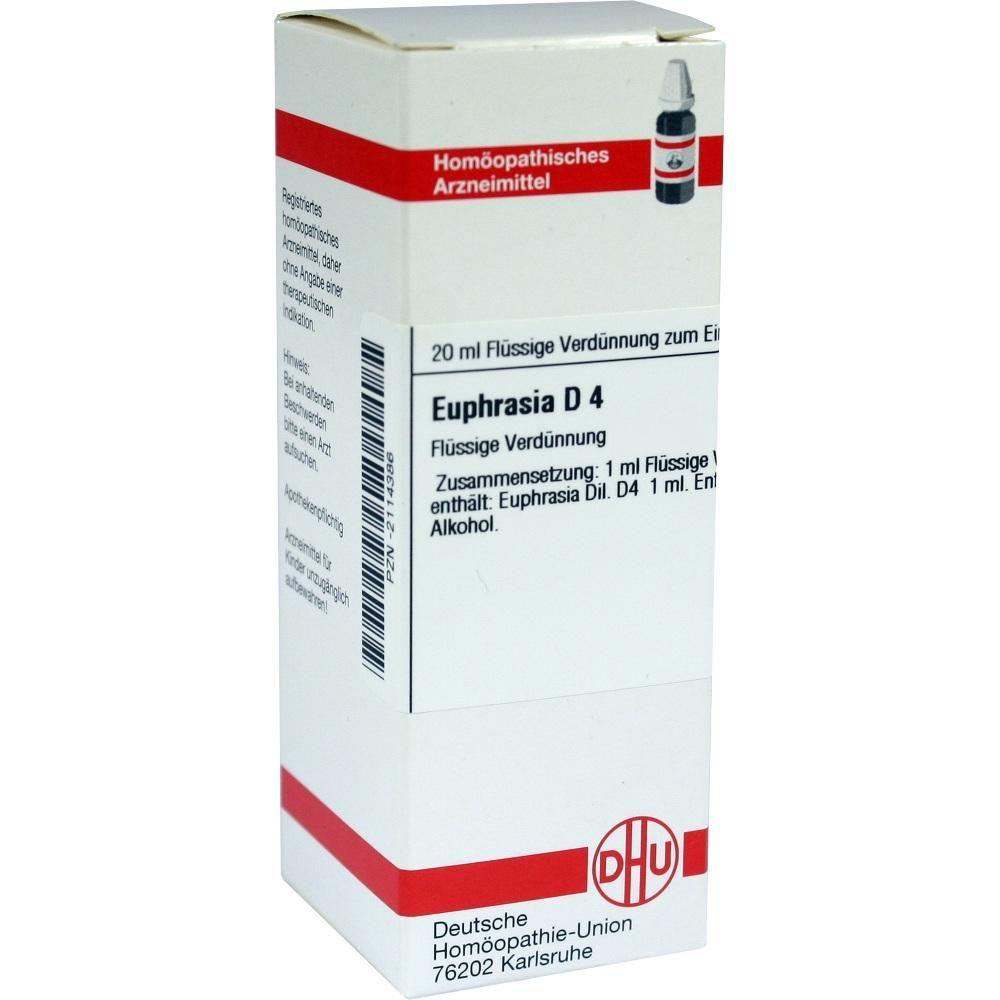 EUPHRASIA D 4 Dilution:   Packungsinhalt: 20 ml Dilution PZN: 02114386 Hersteller: DHU-Arzneimittel GmbH & Co. KG Preis: 5,64 EUR inkl.…