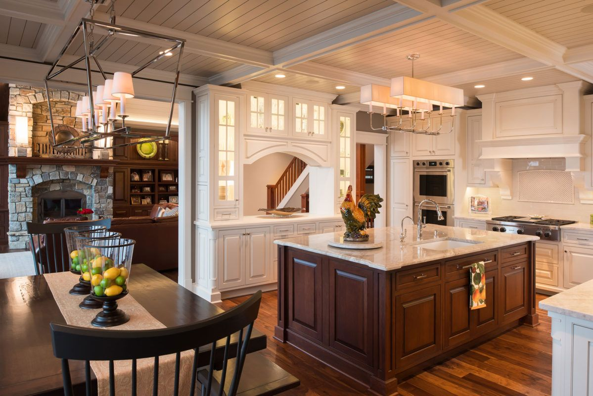 Traditional White Kitchen with Dark Cherry Island White