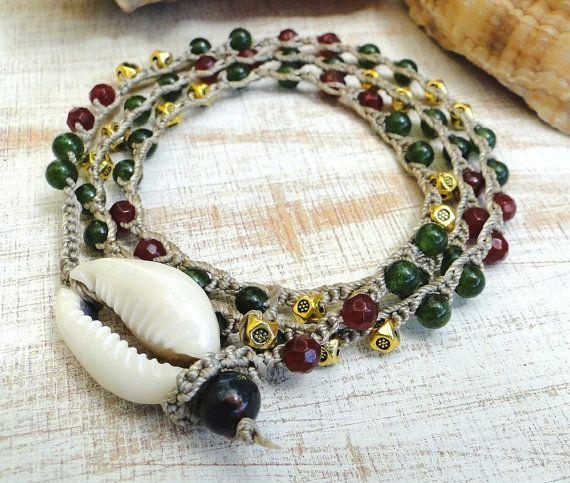 Hemp beaded crochet necklace 3x bracelet 2x anklet wraps by ShySu, $30.00