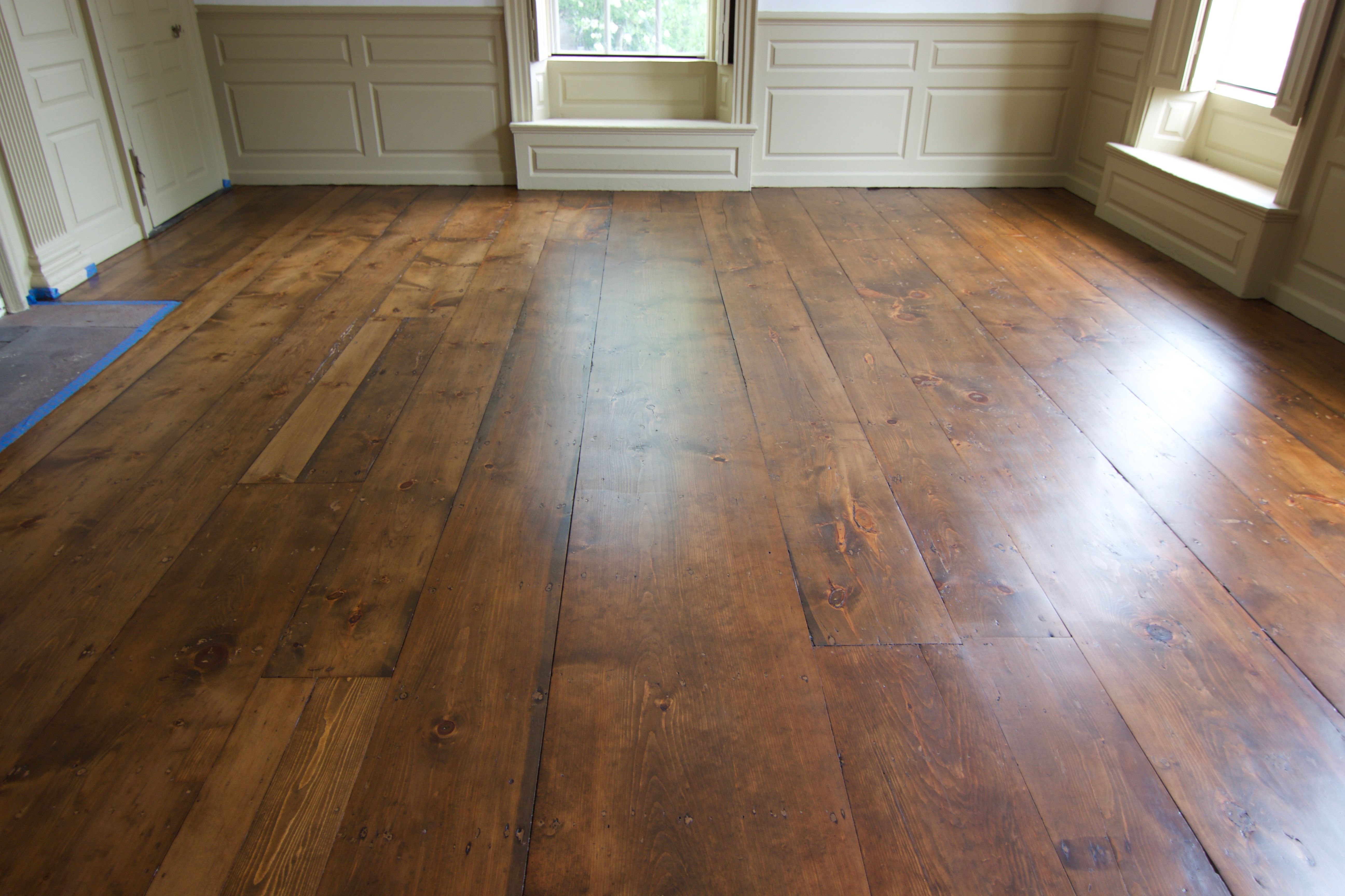 Antique Wide Plank Pumpkin Pine Stained With Bona