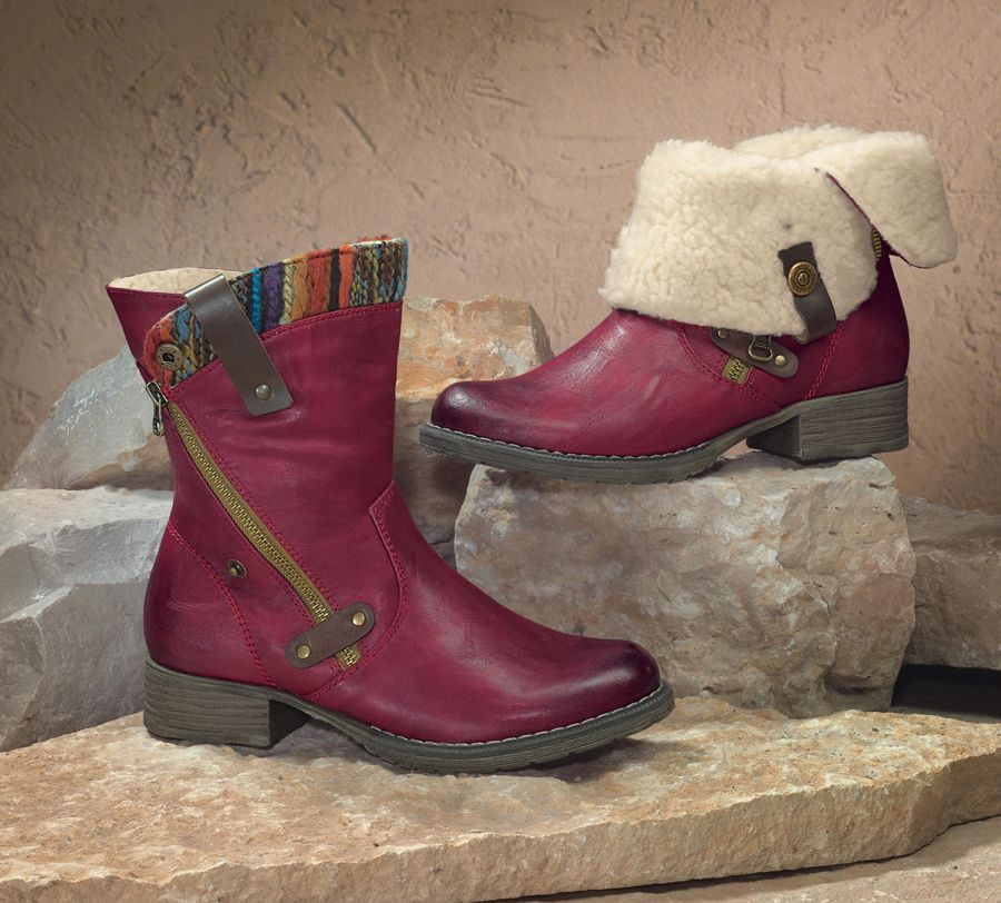 Rieker Red Fold-Over Boots - Acacia Lifestyle