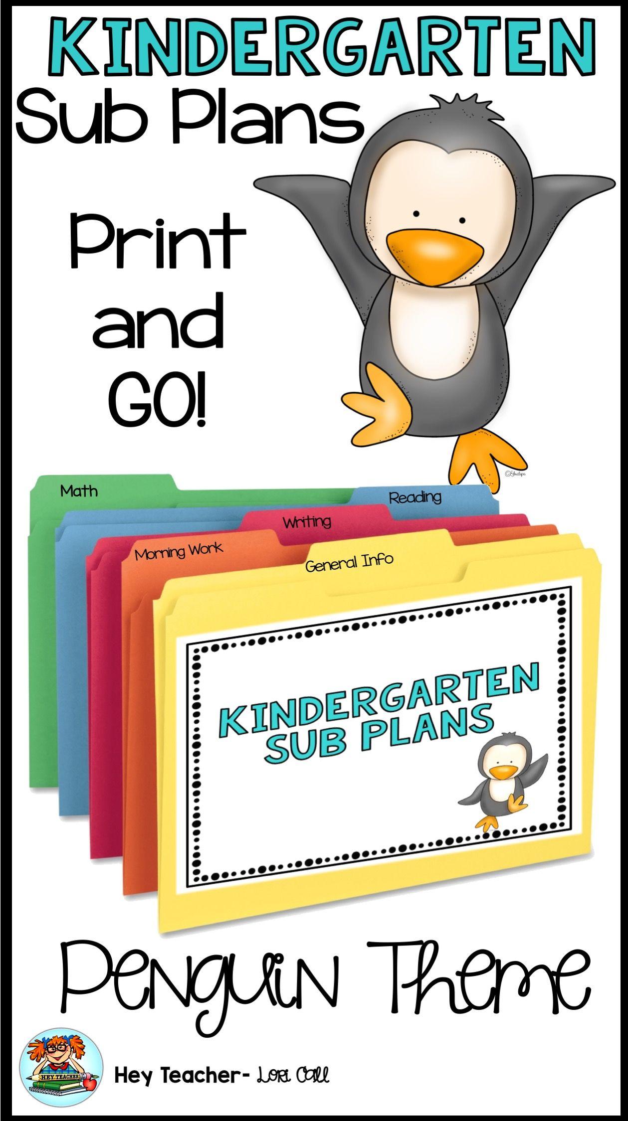 Kindergarten Sub Plans Penguin Theme