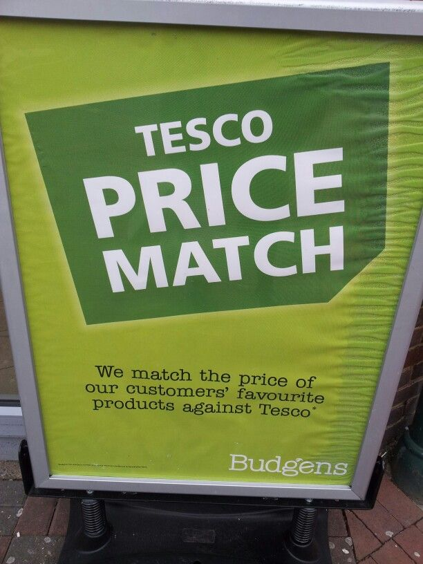 Price Match POS: Budgens Pavement POS Outside Store: March 2013:  Specifically Tesco Prices
