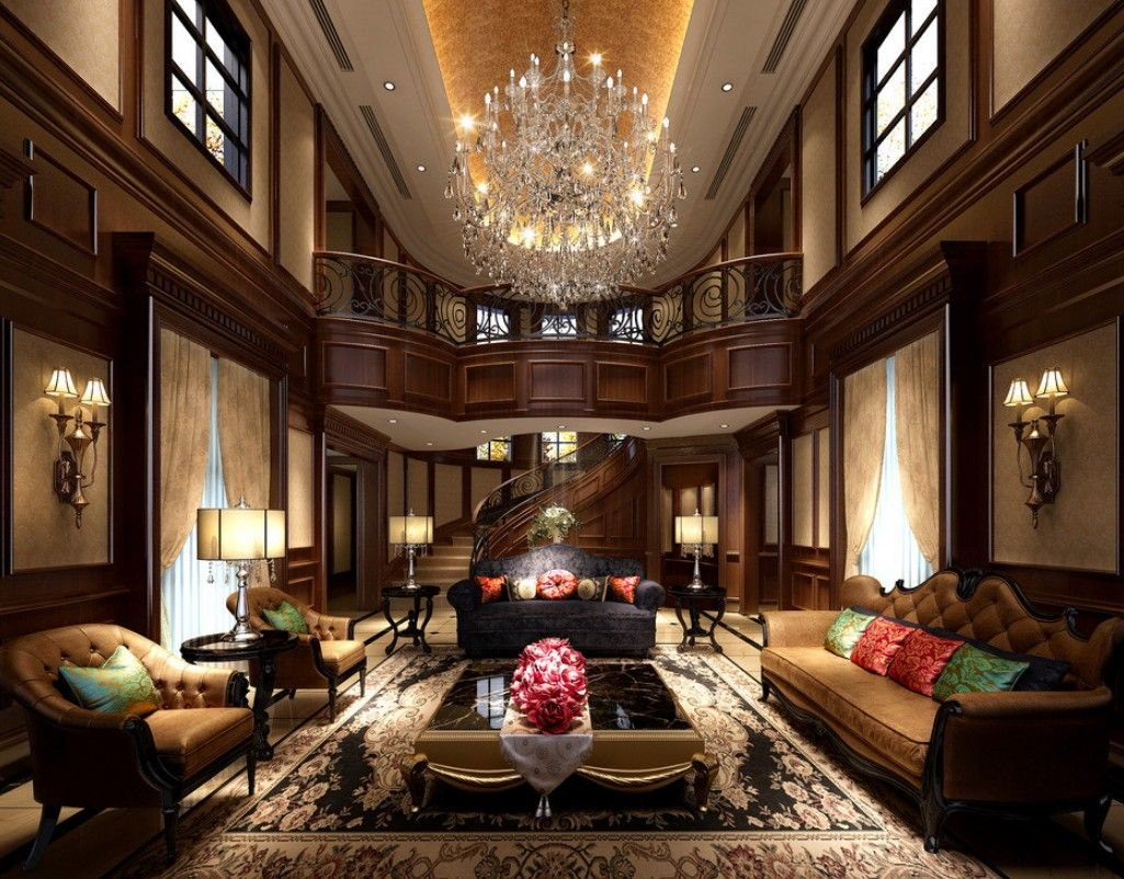 Woodworking In Europe Luxury Villa Living Room