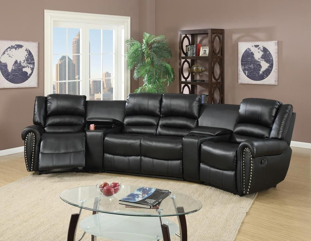 Bonded Leather Motional Home Theater 5 Piece Sectional Black