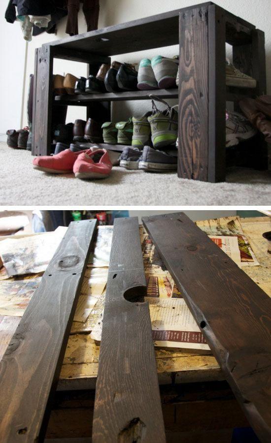 diy pallet shoe rack bench 22 easy shoe organization on wood shoe rack diy simple id=86741