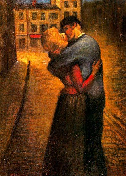 """Pintura de Théophile Alexander Steilen (1859-1923), """"El beso"""""""