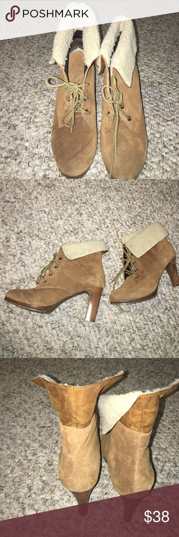 Suede Booties One Wear So Cute Rugged Bottom Cream Texture Lining Camel Color Alfani Shoes Heeled