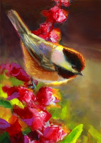 Summer Chickadee I Oil on panel • Giclee prints available here: https://whitworthgallery.org/products-page/alaska-art/fireweed-chickadee-giclee-1/