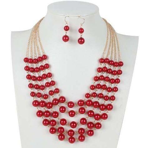 543bcfcd0454 Set Collar Y Aretes De Perla Y Cristal Moda Bisuteria Fina -   155.00
