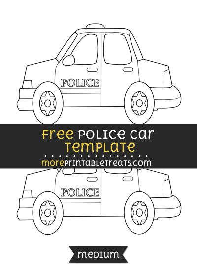 Free Police Car Template - Medium Shapes and Templates - printable car template